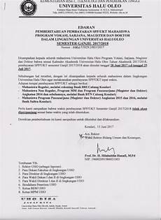 surat edaran pembayaran spp ukt mahasiswa uho semester