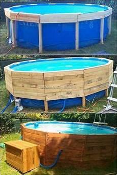 ein pool auf dem boden mit paletten 2 pool verkleiden