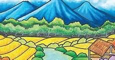Contoh Lukisan Pemandangan Yang Mudah Ditiru Berwarna Di