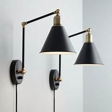360 lighting modern wall l plug in of 2 black and