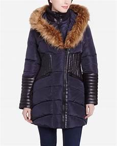 manteau d hiver avec garnitures en similicuir