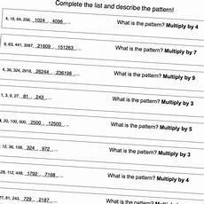 recursive pattern worksheets grade 6 559 number pattern worksheets that focus on multiplication patterns great for psat warmup math