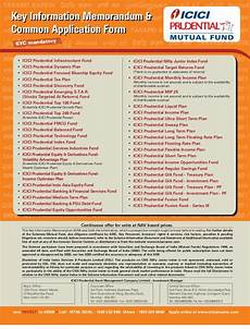 icici prudential mutual fund common application form with