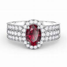 eternity oval ruby halo and half eternity platinum plated silver promise ring jian london