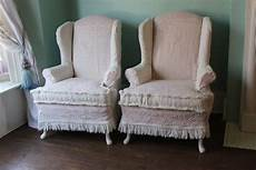shabby chic wingback chair pair pink white vintage matelasse