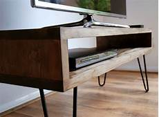 vintage retro box tv stand w metal hairpin legs solid wood rustic unit table ebay