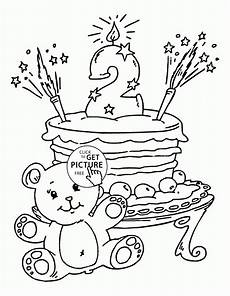 2nd birthday cake coloring page for coloring