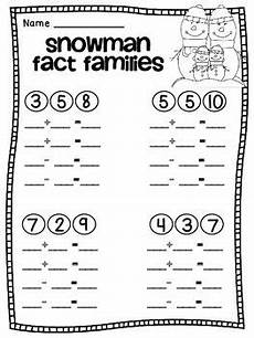 math worksheets for grade 1 fact families free snowman fact families firstgradefaculty com fact