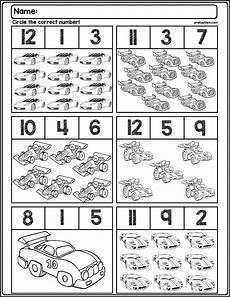 race car quantity worksheets numbers 1 12 math resources fun math activities math games
