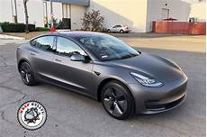 tesla model 3 gray chrome tesla 3 wrapped in 3m matte dark grey wrap bullys