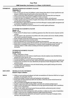 vendor management analyst resume sles velvet