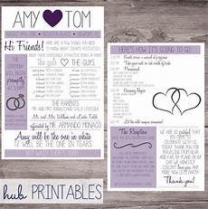 funny wedding program printable with hearts and rings