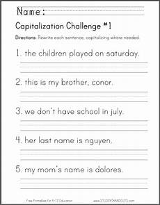 punctuation and capitalization worksheets for 3rd grade 20991 free printable capitalization challenge worksheet homeschool giveaways