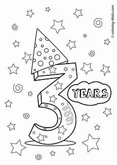 3 years birthday coloring pages for printables