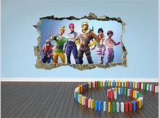Fortnite Wall Sticker 3D Kids Cracked Smashed Decal Home