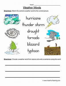 weather words worksheets 14703 weather words worksheet 2 matching