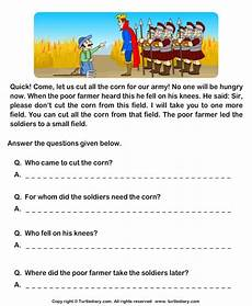 comprehension worksheets 18231 read comprehension king and farmer and answer the questions worksheet turtle diary
