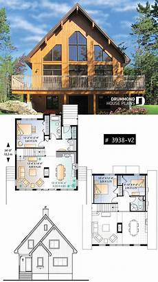 three bedroom two bathroom rustic chalet house plan