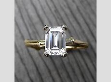 Emerald Cut Moissanite Twig Engagement Ring: by KristinCoffin