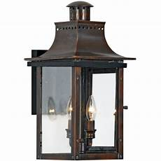 outdoor wall light with clear glass in aged copper finish cm8410ac destination lighting