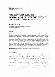 pdf code switching and the development of linguistic system of simultaneous bilingual children