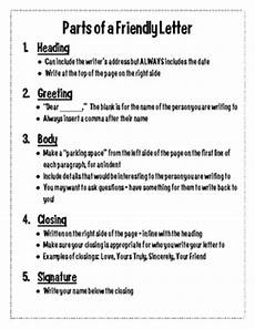 parts of a friendly letter handout by third grade with hk tpt