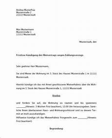 fristlose k 252 ndigung mietvertrag k 252 ndigung vorlage fwptc