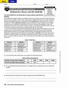 physical science radioactivity worksheet 13172 radioactive decay and the half