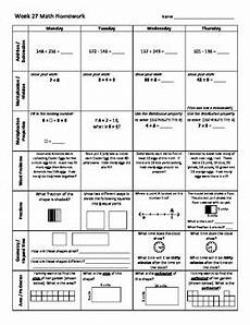 3rd grade math weekly homework weeks 27 35 by coaching thru math