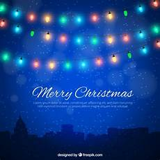 merry christmas background with colorful lights vector free download