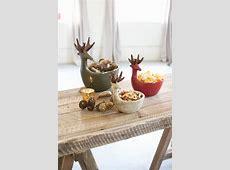 set of three ceramic deer bowls
