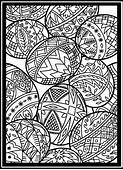 Easter Eggs In Stained Glass Coloring Page Online