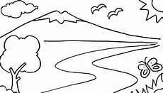 Mewarnai Pemandangan Gunung Gambar Untuk Mewarnai Anak Tk