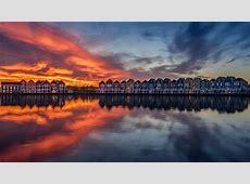 reflection, Sunset, Water, Sun, Netherlands, Amsterdam