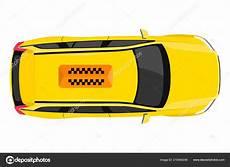 Taxi Car Top View Icon Yellow Taxicab Sedan Checker Top