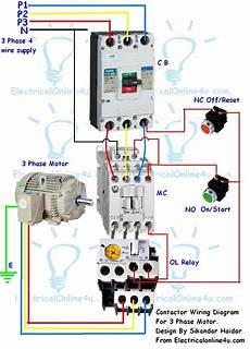 wiring diagram of contactor contactor wiring guide for 3 phase motor with circuit breaker overload relay nc no switches