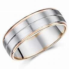 7mm men s palladium and 9ct rose gold wedding ring 9ct 2 colour gold at elma uk jewellery