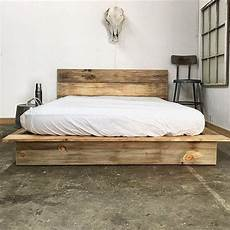 bed frame plank headboard funky plank low pro rustic modern platform bed frame and