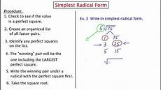 what is the simplest form of the radical expression mathc321 simplest radical form youtube