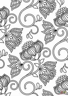 lotus pattern coloring page free printable coloring pages