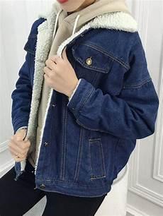 veste en jean mouton femme veste en denim doubl 233 mouton d agneau manche longues