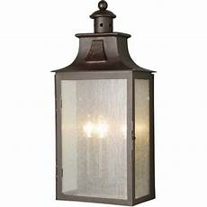 elstead lighting balmoral outdoor 3 light wrought iron half wall lantern with an old bronze