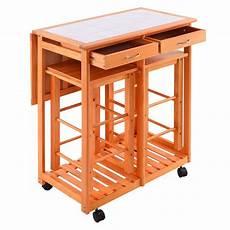 rolling kitchen trolley cart island drop leaf table w 2 stools home breakfast ebay