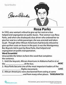 second grade black history worksheets rosa parks historical heroes worksheet education com