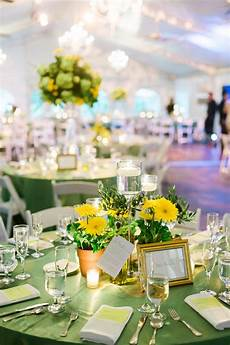 potted yellow gerbera daisy centerpiece