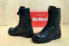 jual sepatu kulit asli sapi safety boot kickers pdl resleting full black murah bagus dan