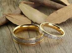 handmade gold wedding bands couple rings set titanium rings