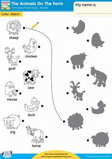 worksheets animals of the farm 13984 the animals on the farm worksheet color match simple