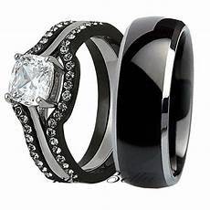 his tungsten 4 piece black stainless steel wedding