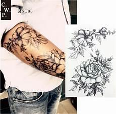 Mst06 1 Cool Black Flower Sketch Sleeve